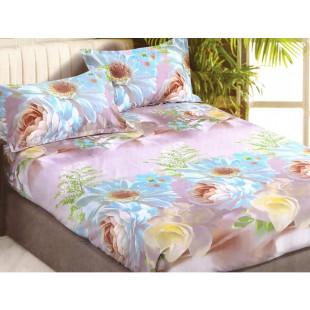 Set cearceaf de pat din bumbac satinat cu elastic, 180x200 cm cu 2 fete de perna, Casa New Concept - Lora