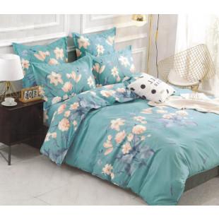 Set cearceaf de pat din bumbac satinat cu elastic, 180x200 cm cu 2 fete de perna, Casa New Concept - Luna