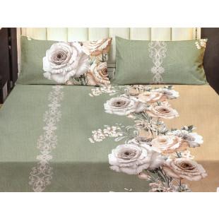 Set cearceaf de pat din bumbac satinat cu elastic, 180x200 cm cu 2 fete de perna, Casa New Concept - Nadina