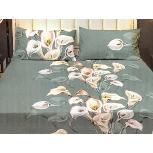Set cearceaf de pat din bumbac satinat cu elastic, 180x200 cm cu 2 fete de perna, Casa New Concept - Olivia