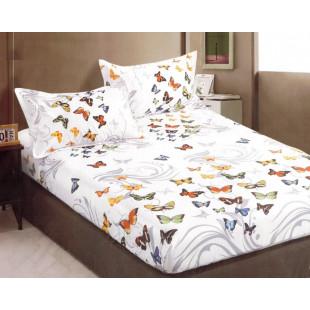 Set cearceaf de pat din bumbac satinat cu elastic, 180x200 cm cu 2 fete de perna, Casa New Concept - Raisa