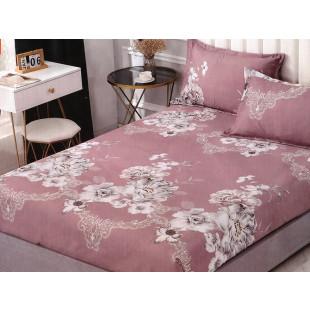 Set cearceaf de pat din bumbac satinat cu elastic, 180x200 cm cu 2 fete de perna, Casa New Concept - Simina