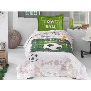 Set lenjerie de pat cu cuvertura pentru copii, 1 persoana, cu 3 piese, Clasy, din bumbac 100% - Soccer