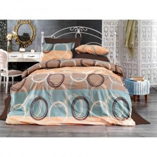 Set lenjerie de pat dublu din bumbac 100% Ranforce, pentru 2 persoane cu 2 huse de pilota, Armonia Textil - Camelia