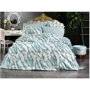 Set lenjerie de pat dublu din bumbac 100% Ranforce, pentru 2 persoane cu 2 huse de pilota, Armonia Textil - Selena