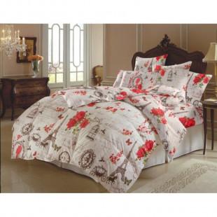 Set lenjerie pat dublu din bumbac 100% neted, pentru 2 persoane cu 2 huse de pilota, Armonia Textil - Beatrice