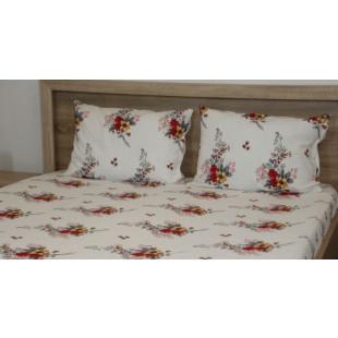 Set lenjerie pat dublu din bumbac 100% neted, pentru 2 persoane cu 2 huse de pilota, Armonia Textil - Gloria