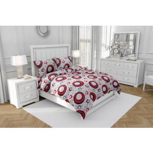 Set lenjerie pat dublu din bumbac 100% neted, pentru 2 persoane cu 2 huse de pilota, Armonia Textil - Monica