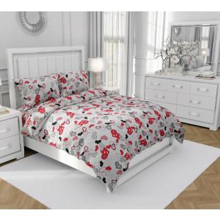 Set lenjerie pat dublu din bumbac 100% neted, pentru 2 persoane cu 2 huse de pilota, Armonia Textil - Simina