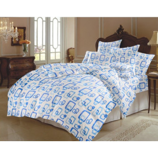 Set lenjerie pat dublu din bumbac 100% neted, pentru 2 persoane cu 2 huse de pilota, Armonia Textil - Sonia