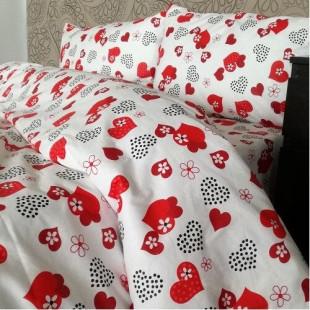 Set lenjerie pat dublu din bumbac 100% neted, pentru 2 persoane cu 2 huse de pilota, Armonia Textil - Lenna