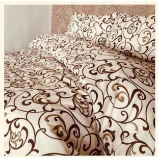 Set lenjerie pat dublu din bumbac creponat, pentru 2 persoane cu 2 huse de pilota, Armonia Textil - Monalisa