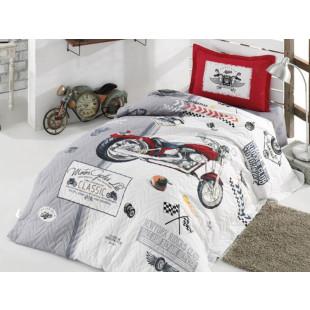 Set lenjerie de pat cu cuvertura pentru copii, 1 persoana, cu 3 piese, Clasy, din bumbac 100% - Lorin