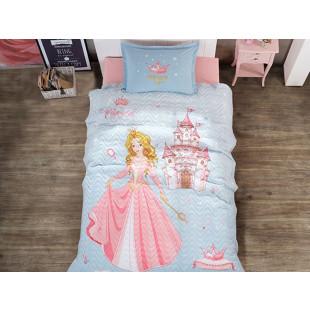 Set lenjerie de pat si cuvertura pentru copii, 1 persoana, cu 3 piese, Clasy, din bumbac 100% - Printesa