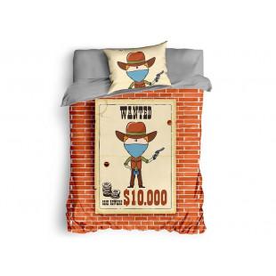 Lenjerie de pat pentru 1 persoana, 3 piese, Club Cotton, din bumbac 100% Ranforce - Wanted