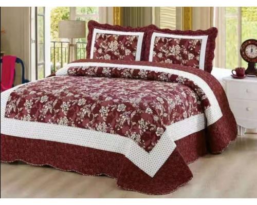 Cuvertura de pat reversibila din bumbac pentru pat dublu. 2 persoane, cu 3 piese - Crina