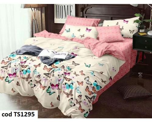 Lenjerie de pat bumbac finet, cu 4 piese, pentru 2 persoane, L'atelier Creatif Pucioasa Maia