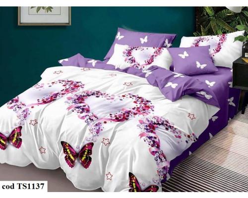 Lenjerie de pat bumbac finet, cu 6 piese, pentru 2 persoane, Dormy Pucioasa - Denisa