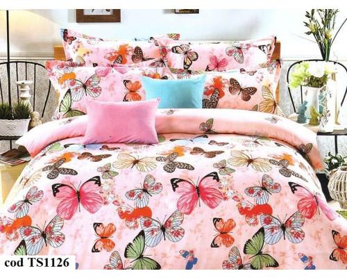 Lenjerie de pat dublu (cearceaf cu elastic 180x200 cm) pentru 2 persoane din bumbac satinat, L'atelier Creatif Pucioasa, cu 4 piese - Livia