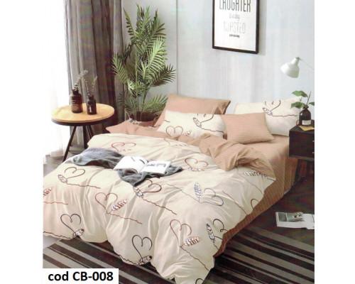 Lenjerie de pat dublu pentru 2 persoane din bumbac finet cu 6 piese - Nidia