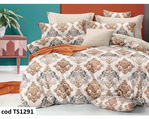 Lenjerie de pat pentru 2 persoane din bumbac finet, L'atelier Creatif Pucioasa, cu 4 piese - Anabela