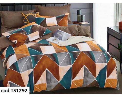Lenjerie de pat pentru 2 persoane din bumbac finet, L'atelier Creatif Pucioasa, cu 4 piese - Lia