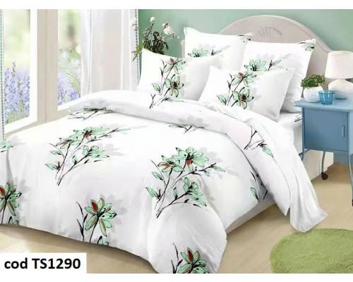 Lenjerie de pat pentru 2 persoane din bumbac finet, L'atelier Creatif Pucioasa, cu 4 piese - Lineea
