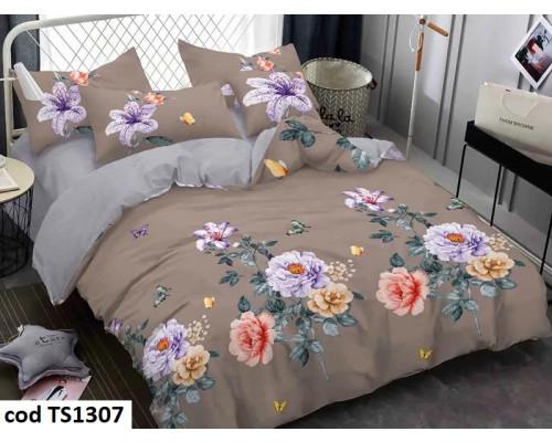 Lenjerie de pat pentru 2 persoane din bumbac satinat, L'atelier Creatif Pucioasa, cu 6 piese Alice