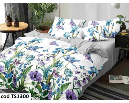 Lenjerie de pat pentru 2 persoane din bumbac satinat, L'atelier Creatif Pucioasa, cu 6 piese Biasmina
