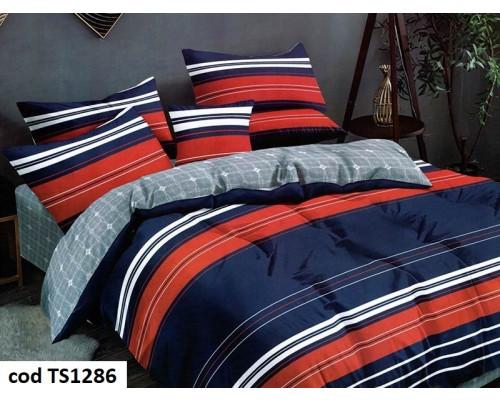 Lenjerie de pat pentru 2 persoane din bumbac satinat, L'atelier Creatif Pucioasa, cu 6 piese Casiana
