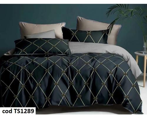 Lenjerie de pat pentru 2 persoane din bumbac satinat, L'atelier Creatif Pucioasa, cu 6 piese Cornelia