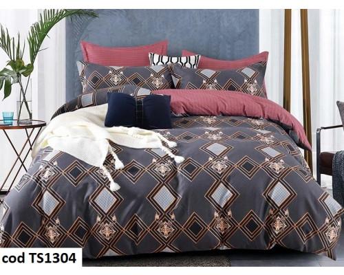 Lenjerie de pat pentru 2 persoane din bumbac satinat, L'atelier Creatif Pucioasa, cu 6 piese Ionela