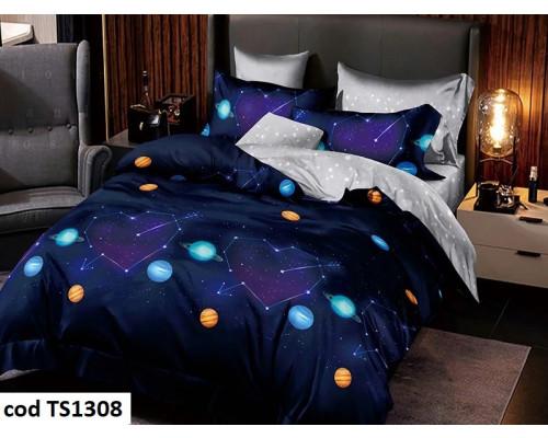 Lenjerie de pat pentru 2 persoane din bumbac satinat, L'atelier Creatif Pucioasa, cu 6 piese Larisa