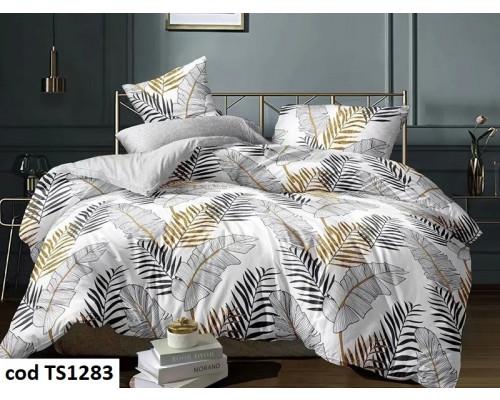 Lenjerie de pat pentru 2 persoane din bumbac satinat, L'atelier Creatif Pucioasa, cu 6 piese Letisia