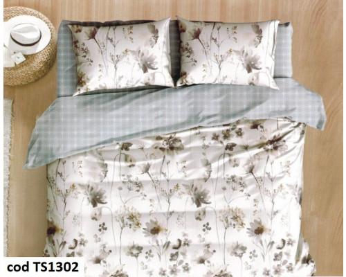 Lenjerie de pat pentru 2 persoane din bumbac satinat, L'atelier Creatif Pucioasa, cu 6 piese Lidia