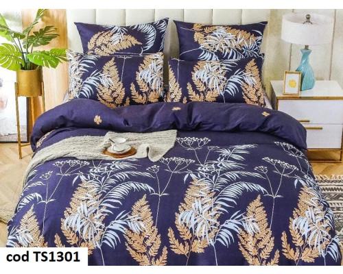 Lenjerie de pat pentru 2 persoane din bumbac satinat, L'atelier Creatif Pucioasa, cu 6 piese Lisa