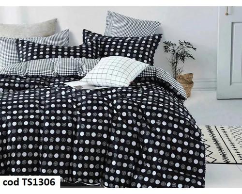 Lenjerie de pat pentru 2 persoane din bumbac satinat, L'atelier Creatif Pucioasa, cu 6 piese Oana