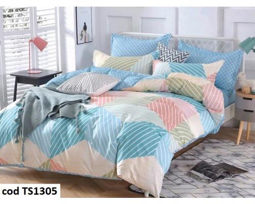 Lenjerie de pat pentru 2 persoane din bumbac satinat, L'atelier Creatif Pucioasa, cu 6 piese Olivia