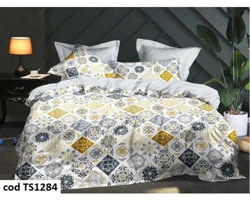 Lenjerie de pat pentru 2 persoane din bumbac satinat, L'atelier Creatif Pucioasa, cu 6 piese Simina