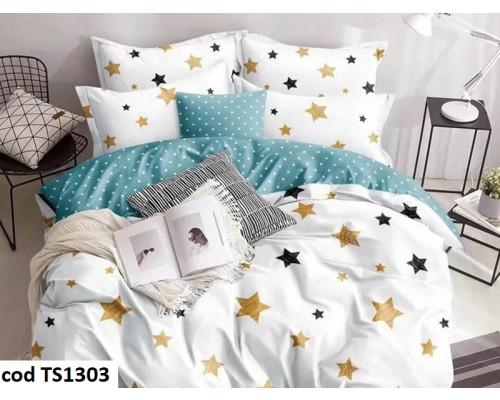 Lenjerie de pat pentru 2 persoane din bumbac satinat, L'atelier Creatif Pucioasa, cu 6 piese Sela