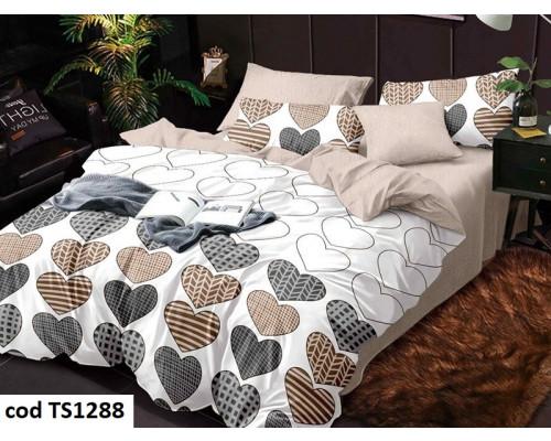 Lenjerie de pat pentru 2 persoane din bumbac satinat, L'atelier Creatif Pucioasa, cu 6 piese Timeea