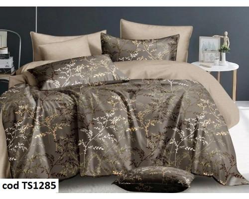 Lenjerie de pat pentru 2 persoane din bumbac satinat, L'atelier Creatif Pucioasa, cu 6 piese Vanina