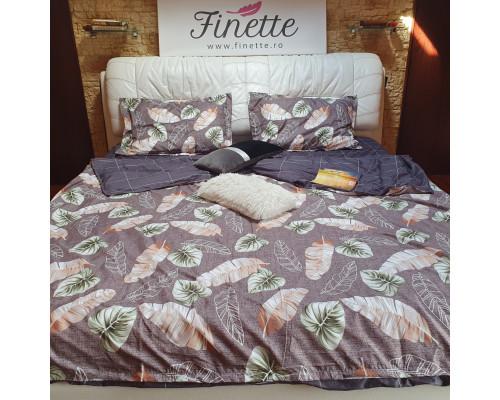 Lenjerie pentru pat dublu, 2 persoane, din bumbac satinat, cu 4 piese - Daria