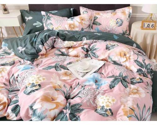 Lenjerie pentru pat dublu, 2 persoane, din bumbac satinat, cu 4 piese - Sandra