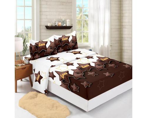 Set cearceaf de pat din bumbac finet cu elastic, 140x200 cm cu 2 fete de perna, Ralex Pucioasa